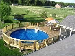 above ground pool with deck and hot tub. Large Space Above Ground Pool With Deck And Fence Hot Tub A