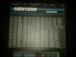 Midiverb 4 Program Chart Midi1