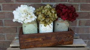 painted mason jar table centerpiece 3 quart w wooden rustic upcycled planter box