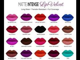 Sacha Matte Lipstick Chart Sacha Cosmetics Matte Intense Velvet Lipsticks