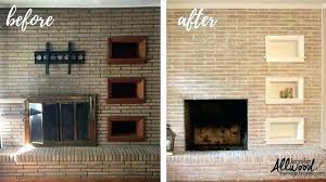 remove paint from brick fireplace painted before after the magic brush cleaning off removing whitewash pai how to remove plaster from a brick chimney