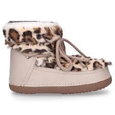 Roberto Meucci Shoe Designer Snowboots Jaguar Wild Calfskin Rabbit Fur Fur Upper Beige Leopard