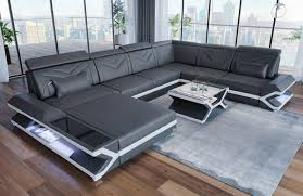 Xl Modern Sofa San Francisco Modern With Lighting In Leather