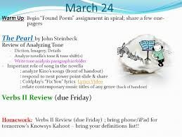 put your arg on the corner of your desk to be checked ppt 24 the pearl by john steinbeck verbs ii review due friday