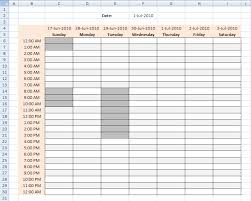 work time schedule template highlight specific time ranges in a weekly schedule