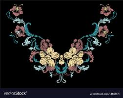 Floral Embroidery Designs Vector Floral Neck Embroidery Design In Baroque Style