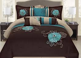 com fancy collection 7 pc embroidery bedding brown turquoise comforter set