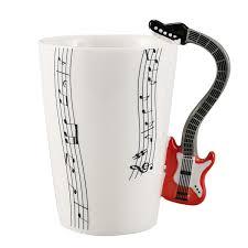 creative style guitar ceramic mug coffee tea milk stave cups with handle coffee mug novelty