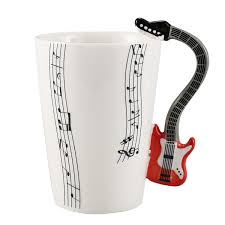 creative style guitar ceramic mug coffee tea milk stave cups with handle coffee mug novelty