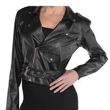 las 50s cropped faux leather jacket sandy grease fancy dress costume