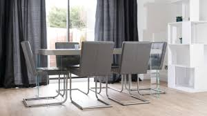 Dining Room Modern Grey Leather Dining Chair Matched With Elegant - Modern dining room curtains