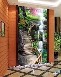 3D Fall Cherry Blossom Stairs Corridor ...