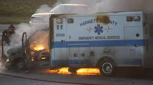 ambulance com harnett county ambulance engulfed in flames