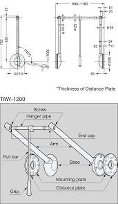 sugatsune taw tallman double pull down closet rod line drawing