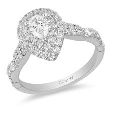 Enchanted Disney Ariel 1 Ct T W Pear Shaped Diamond Double Frame Shell Engagement Ring In 14k Two Tone Gold