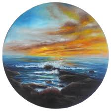 round oil painting seascape sunset rocky beach 16