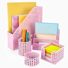 High Quality Pink Desk Organizer Office Desk Set: 5 Desktop Accessories For Women.  Includes File/