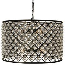 cassiel crystal drum chandelier black