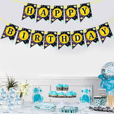 Us 2 65 50 Off 1 Pc Banner Cute Space Happy Birthday Cosmic Planet Streamer Flag Letter Banner For Birthday Festival Party In Banners Streamers