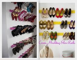 crown molding shoe rack closet ideas