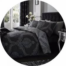 damask black grey reversible duvet cover set