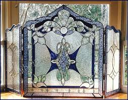 stained glass fireplace screen fire decorative screens free patterns