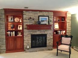 rock fireplace with built ins ideas