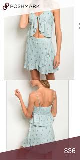 Honey Punch 2 Piece Top And Skirt Set Adorable Blue Honey