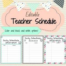 Daily Classroom Schedule Template Editable 6 Cute Design Schemes ...