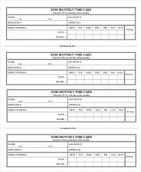 Printable Time Card Template 12 Free Word Excel Pdf