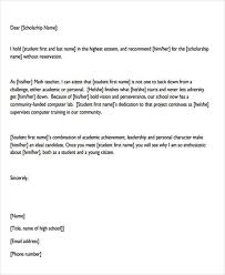 Scholarship Recommendation Letter Sample Recommendation Letters For Scholarship 8 Examples In Word