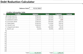 Pay Off Debt Spreadsheet Pay Down Debt Spreadsheet Reduction Calculator Free