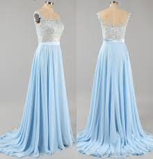 Light Blue Prom Dress With Cap Sleeves