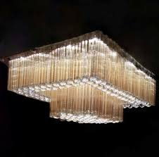 double step big size rectangle shape crystal chandelier