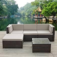 ikayaa fashion pe rattan wicker patio garden furniture sofa set w cushions outdoor corner sofa couch table set s gy tomtop