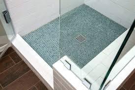tile shower base on concrete floor installing pan mosaic installation ceramic drain bathrooms surprising