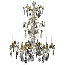 large antique french louis xvi baguès bronze and cut rock crystal chandelier for