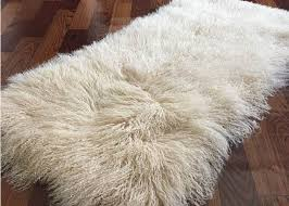 fur bed blanket mongolian sheepskin rug 60x120cm beige color fireproofing