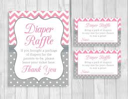 raffle sign diaper raffle pink and gray 5x7 8x10 printable sign and sheet of