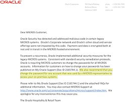 one of two doents oracle sent to micros customers and the sum total of information the