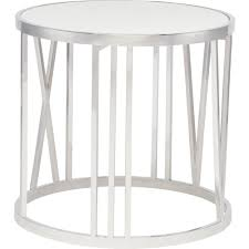 nuevo modern furniture roman side table in polished stainless roman numeral base white marble top