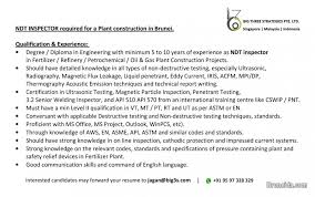 Ndt Inspector Resume Ndt Inspector Required For A Fertilizer Plant Constn In