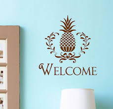 New Vinyl Wall Art Decal Welcome Pineapple Lettering Entryway Home Decor  Bedroom Wall Sticker Decoration You choose color-in Wall Stickers from Home  ...