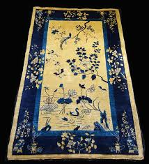 1920s chinese blue gold wool pile rug