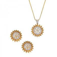 sunflower diamond pendant set