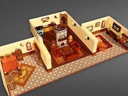D Model Cartoon House Interior VR  AR  Lowpoly MAX FBX - 3d house interior