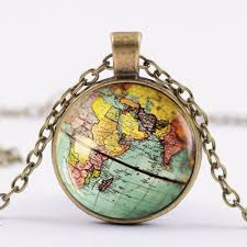 diy globe dome necklace earth world map