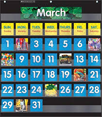 Scholastic Classroom Resources Pocket Chart Monthly Calendar Black Sc583866