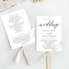 Templates For Wedding Programs Modern Script Wedding Program Fan Template Msc
