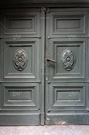 old green classic wooden doors and door handle door old wooden green front handle rustic detail vintage antique house texture design metal
